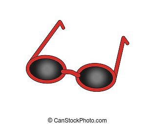 red sun glasses with black glasses simple flat drawing illustration