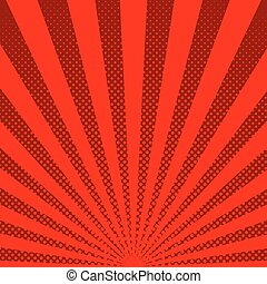 Bright sunbeams background with red dots. Abstract background with halftone dots design. Vector illustration.