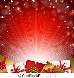 Red Sunburst Background With Gift Box