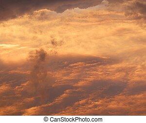 red sunrise cloudscape, top view