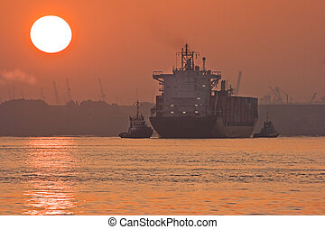 Red sunrise in the mist with ships - Red sunrise on the...