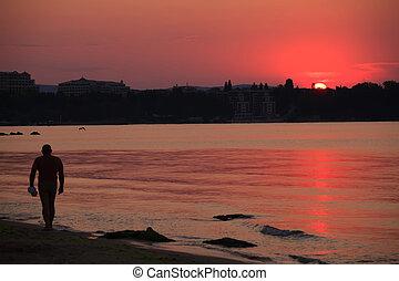 red sunrise on the beach