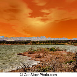 Red Sunset lake - Roosevelt lake with red sunset evening ...