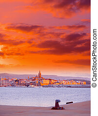 red sunset over Alghero