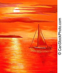 Red Sunset - Sailing on a calm sea.