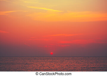 Red Sunset, Sunrise Background Over Ocean, Sea