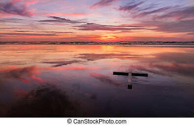 Red Sunset Wet Beach Cross