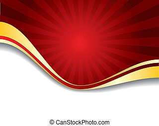 Red Sunshine  - Red sunshine like design with gold wave