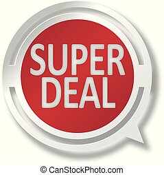 red super deal white and red speech bubble web icon on blue background