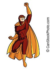 Red Super Hero Cartoon Illustration