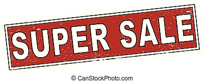 red super sale stamp square grunge sign