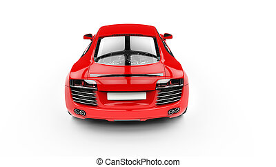 Red Supercar Back Top View