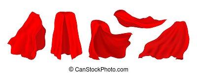 Red superhero cape. Realistic 3D hero cloak of drape, illusionist silk cloth, vampire decorative costume. Vector carnival clothes set