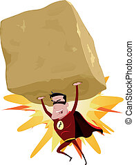Red Superhero Raising Heavy Big Rock - Illustration of a...