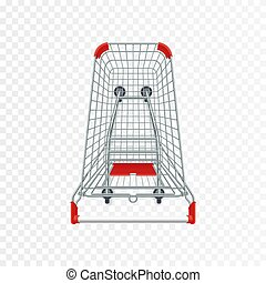 Red supermarket shopping cart. 3d top view vector illustration. Photo realistic empty basket for food products.