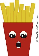 Red suprissed french fries box vector illustration on white background