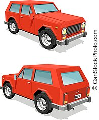 Red SUV car front and rear view