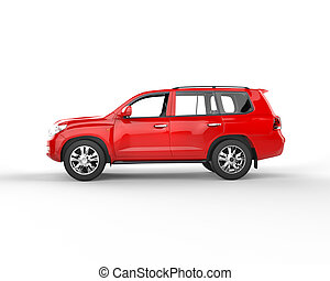 Red SUV isolated - side view