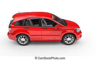 Red SUV Top Side View