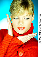 Red Sweater - Portrait of beautiful woman wearing red ...