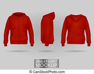 Red sweatshirt hoodie template