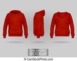 Red sweatshirt hoodie without zip template in three...