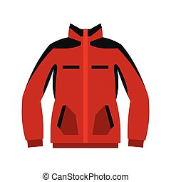 Red sweatshirt with a zipper icon, flat style