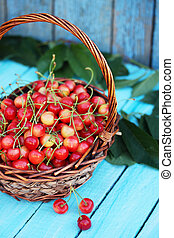 cherries in a large wicker basket