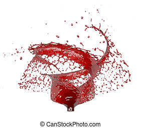 red swirl Splash isolated on white 3d rendering