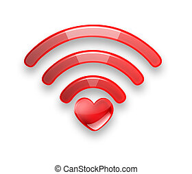 Red symbol of the free Wi fi