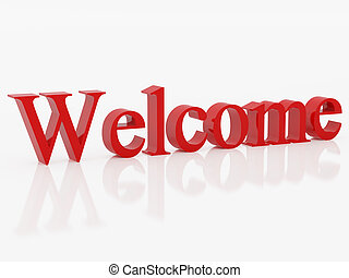 Red symbol welcome - High resolution image symbol. 3d...