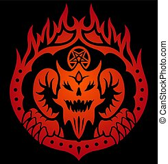 Red symbol with devil in fire circle
