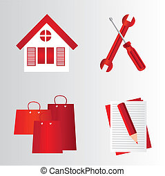 red symbols - red house, tools, bags,pencil,folder over gray...