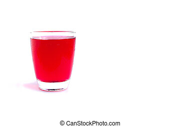 Red syrup water in glass isolated on white background.