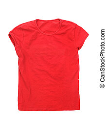 Red t-shirt isolated on a white background