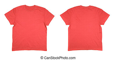 Red T-shirt isolated on white background