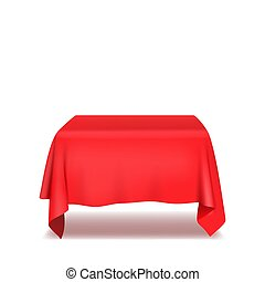 Red table cloth. Isolated on White Background. Vector ...