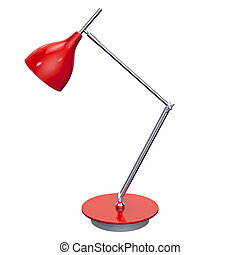 Red table lamp side view. 3d graphic - Nice office and home...