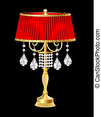 red table lamp with crystal pendants - illustration of a red...