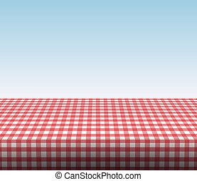 red tablecloth - red checkered realistic tablecloth a sunny...