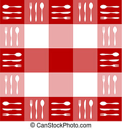 Red tablecloth texture with cutlery pattern - Food,...
