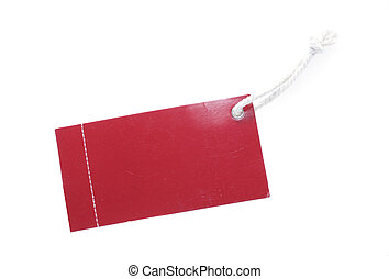 Red Tag with White Cotton Thread for text messages on a white background