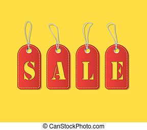 Red tags with Sale word on yellow background. Vector illustration.