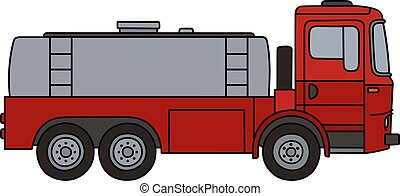 Red tank truck - Hand drawing of a red tank truck