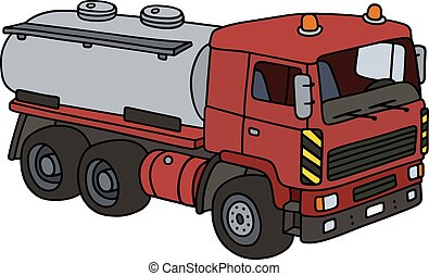 Red tank truck - Hand drawing of a red tank truck - not a...