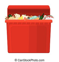 Red tank with garbage. Vector illustration on white background.