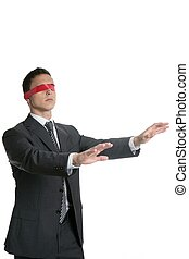 Red tape blindfold businessman isolated on white background