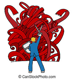 Red Tape Monster - An image of a businessman using sissors...