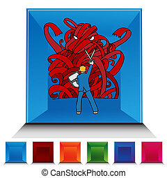 Red Tape Monster Gemstone Button Set