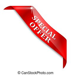 Red tape with the words special offer - Red corner ribbon...